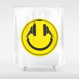 Headphones smiley wire plug Shower Curtain