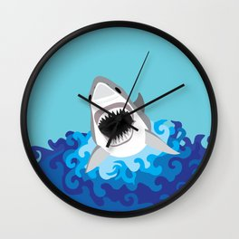 Great White Shark Attack Wall Clock