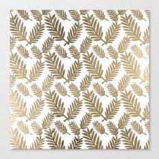 Elegant faux gold foil tropical leaves floral pattern Canvas Print