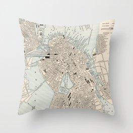 Vintage Map of Boston MA (1893) Throw Pillow