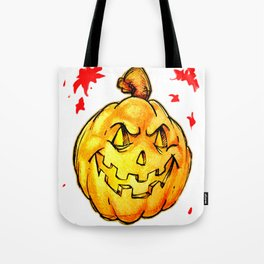 Scary pumpkim face Tote Bag