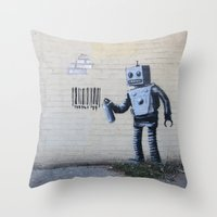 banksy Throw Pillows featuring Banksy Robot (Coney Island, NYC) by Limitless Design
