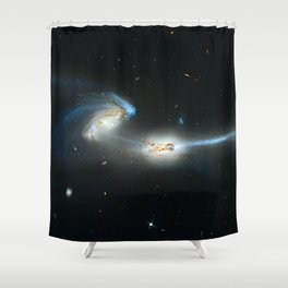 Colliding galaxies, Mice Galaxies, spiral galaxies in constellation Coma Berenices. Shower Curtain