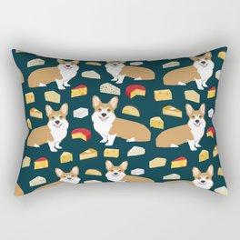 corgi cheese lover - edam, brie, cheddar, camembert, french food, food, cute dog Rectangular Pillow