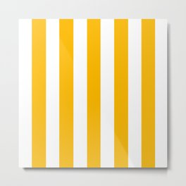Microsoft yellow - solid color - white vertical lines pattern Metal Print