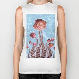 Octopus Tentacles and Roses in Water Surreal Print Biker Tank