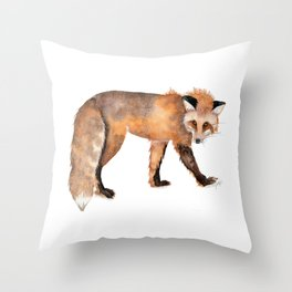 Red Fox Watercolor Throw Pillow