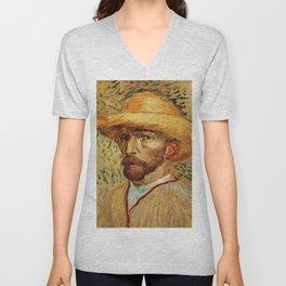 Van Gogh, Self-Portrait with Straw Hat, – Van Gogh,Vincent Van Gogh,impressionist,post-impressionism Unisex V-Neck