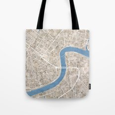 New Orleans Cobblestone Watercolor Map Tote Bag