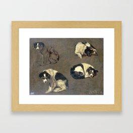 Four Studies of a Dog, Guillaume Anne van der Brugghen, 1868 Framed Art Print