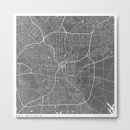 San Antonio USA Modern Map Art Print Metal Print