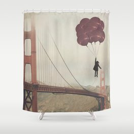 Floating over the Golden Gate Shower Curtain