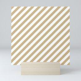 Christmas Gold and Snow White Candy cane Stripes Mini Art Print