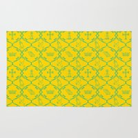 christian Area & Throw Rugs featuring Christian Baroque Art in Yellow and Blue by Christian Creatives
