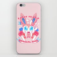 magical girl iPhone & iPod Skins featuring Magical Girl Sylveon by Anjila