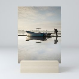 Icy morning sunrise on Hornsea Mere Mini Art Print