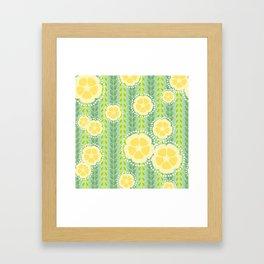 Kanzashi Willow - green & yellow Framed Art Print