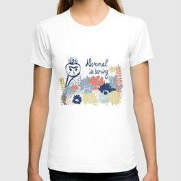 Normal is boring. Owl drawing. Floral design. Hand drawn lettering and elements. Isolated. T-shirt
