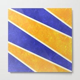 Blue and Orange Diagonal Stripes Metal Print