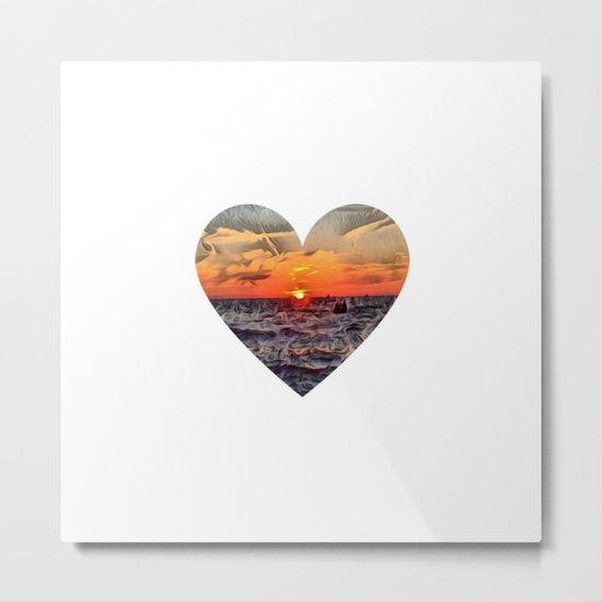 Sunset Heart Love (Valentine's Day Gifts / Girlfriend Valentine Gift) Metal Print