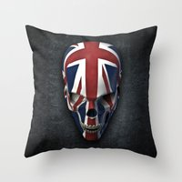 british flag Throw Pillows featuring British horror by GrandeDuc