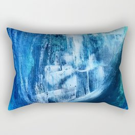 Cerulean [5]: a vibrant blue abstract with texture and layers Rectangular Pillow