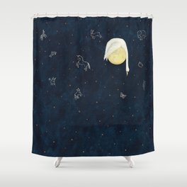 Sleeping on the Moon Shower Curtain