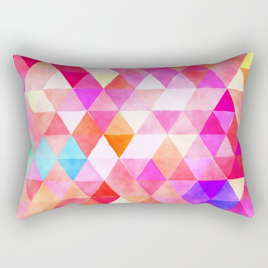Vibrant Triangles Pattern 03 Rectangular Pillow