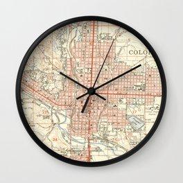 Vintage Map of Colorado Springs CO (1951) Wall Clock