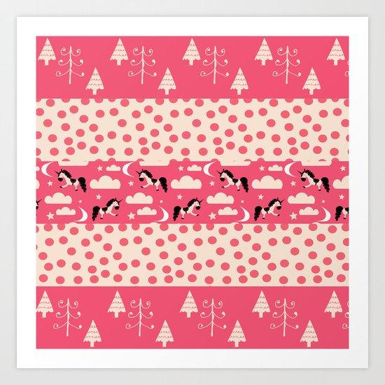 Unicorn Pink patchwork Art Print