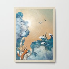 "ocean illustration ""behind the storm"" Metal Print"