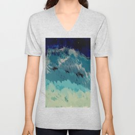 Painting of the wave at the night in a abstract and expressionist way Unisex V-Neck