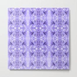 Pastel Purple White Flower Pattern Metal Print