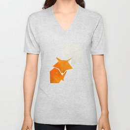 Origami Fox and Moon Unisex V-Neck