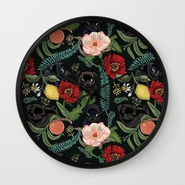 Botanical and Black Pugs Wall Clock