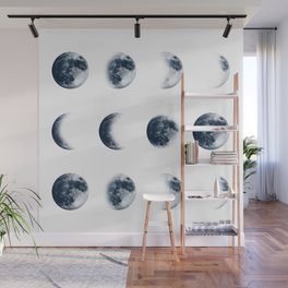 Moon Phases | Classic Blue | Watercolour Painting Wall Mural
