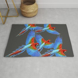 FLOCK OF BLUE MACAWS ON CHARCOAL Rug