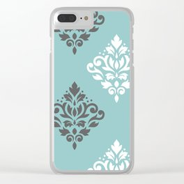 Scroll Damask Art I Gray White Teal Clear iPhone Case