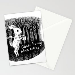 Ghost bunny likes coffee Stationery Cards
