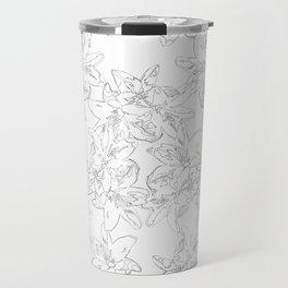 black and white line art flowers Travel Mug