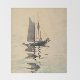 Vintage Schooner Sailboat Watercolor Painting (1894) Throw Blanket