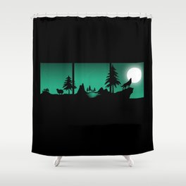The sheep and the wolf in the woods Shower Curtain