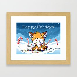 Happy Holidays From Little Fox And Bun Framed Art Print