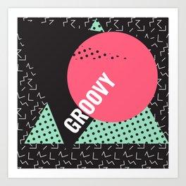 Groovy Memphis Throwback Retro 1990s 80s Trendy Hipster Pattern Art Print