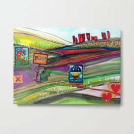 Groovy Snoopy Nature Collage Metal Print