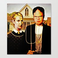 dwight Canvas Prints featuring Dwight Schrute & Angela Martin (The Office: American Gothic) by Silvio Ledbetter