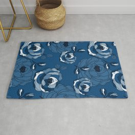 Classic Blue stylized monochrome hand-drawn roses pattern Rug