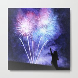 Blue and pink fireworks Metal Print