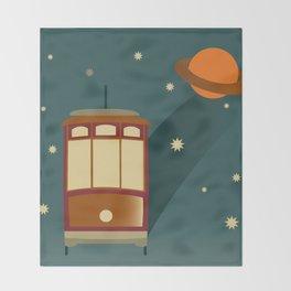 Trolley in Space Throw Blanket