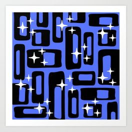 Retro Mid Century Modern Abstract Pattern 581 Black and Blue Art Print